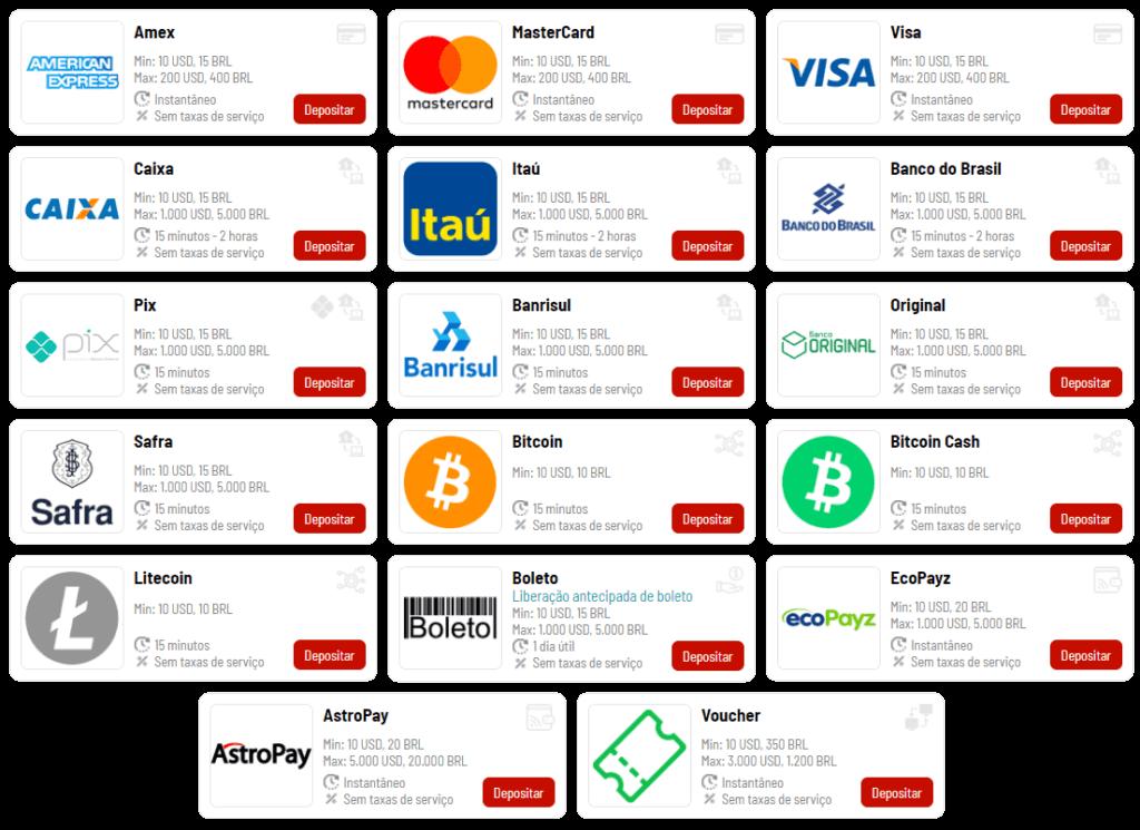 Bodog Brasil dispões de muitos métodos de pagamento de modo a facilitar os apostadores
