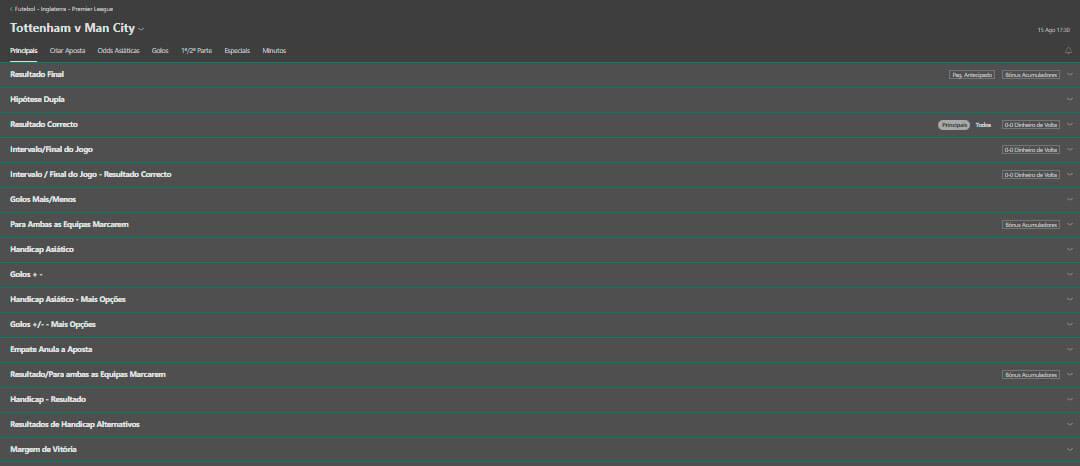 Diversidade de apostas bet365