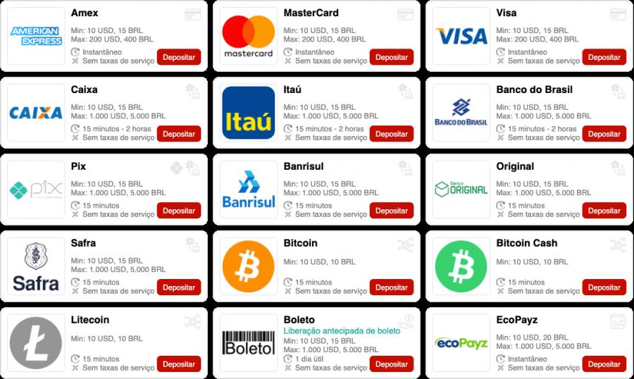 Bumbet Brasil disponibiliza muitos meios de pagamente, escolhe o teu preferido